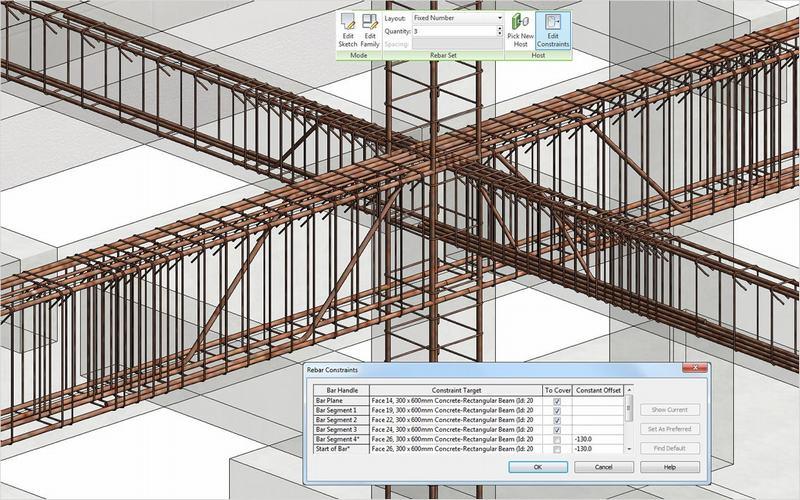 Thể hiện kết quả bố trí thép mô hình 3D  trong AutoDesk Revit Structure 2015